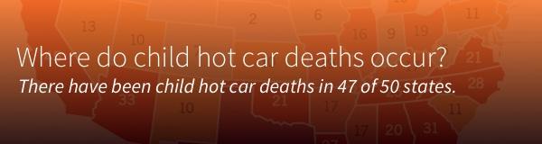 Where do child hot car deaths occur?